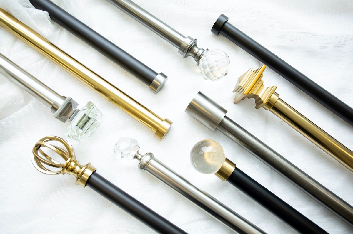 Drapery hardware showcasing different rod finishes.