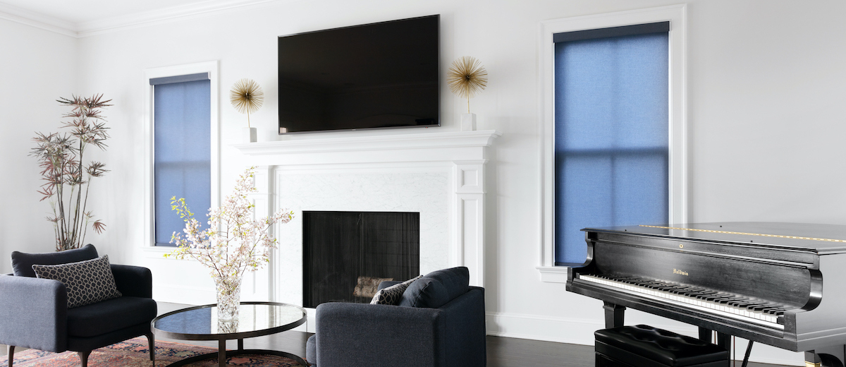Roller shades in a modern living room