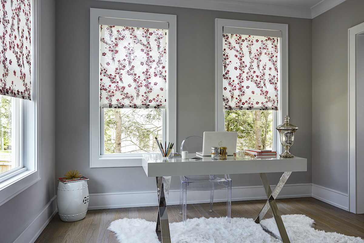 Floral roller shades in a contemporary home office