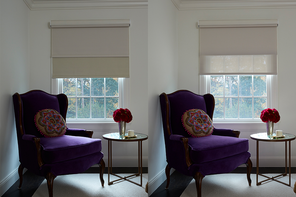 Side by side images of a window in a living room, showing that you can pull down the sheer or blackout shades independently of one another with a double roller shade.